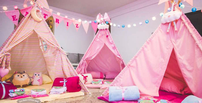 Slumber Tents from a Pajama Sleepover Themed Birthday Party via Kara's Party Ideas | KarasPartyIdeas.com (1)
