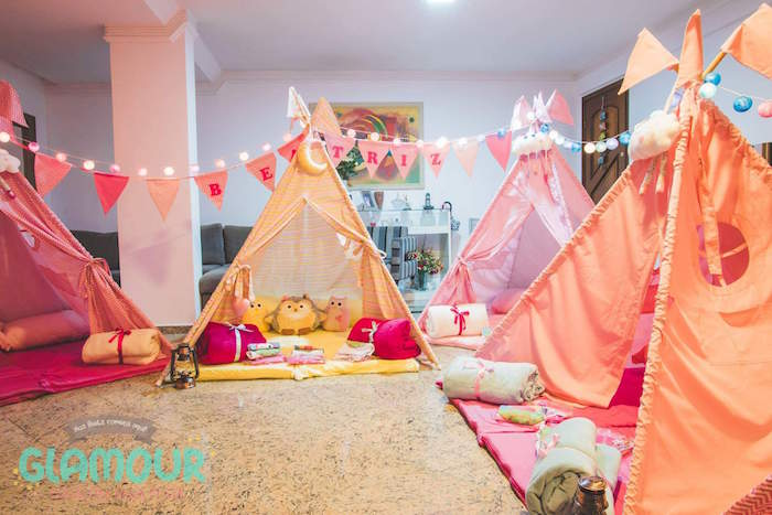 Slumber Tents from a Pajama Sleepover Themed Birthday Party via Kara's Party Ideas | KarasPartyIdeas.com (35)