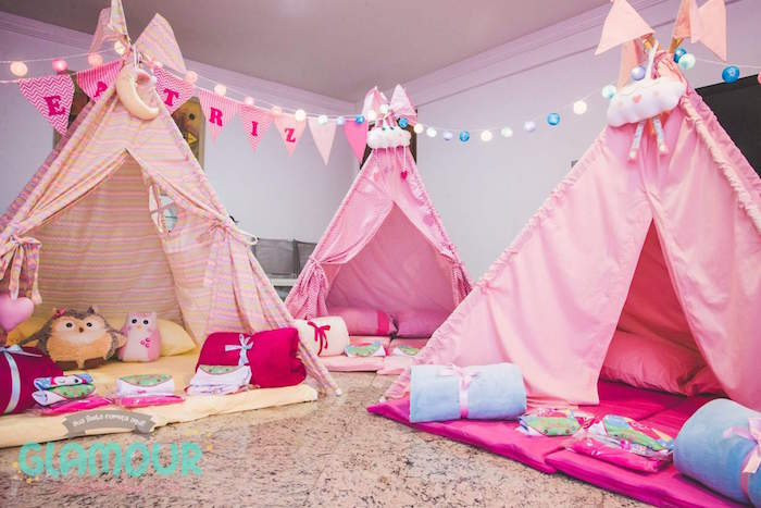 Tents from a Pajama Sleepover Themed Birthday Party via Kara's Party Ideas | KarasPartyIdeas.com (29)