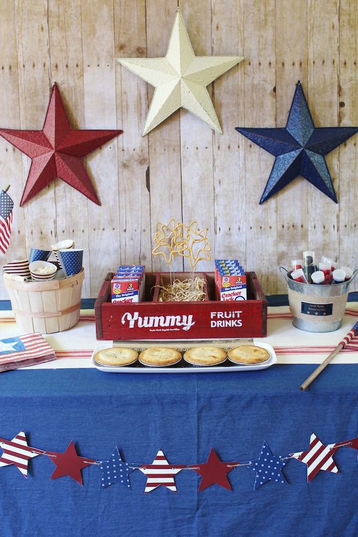 Snack Table Details From A Patriotic Memorial Day Backyard BBQ Party Via Karas Ideas