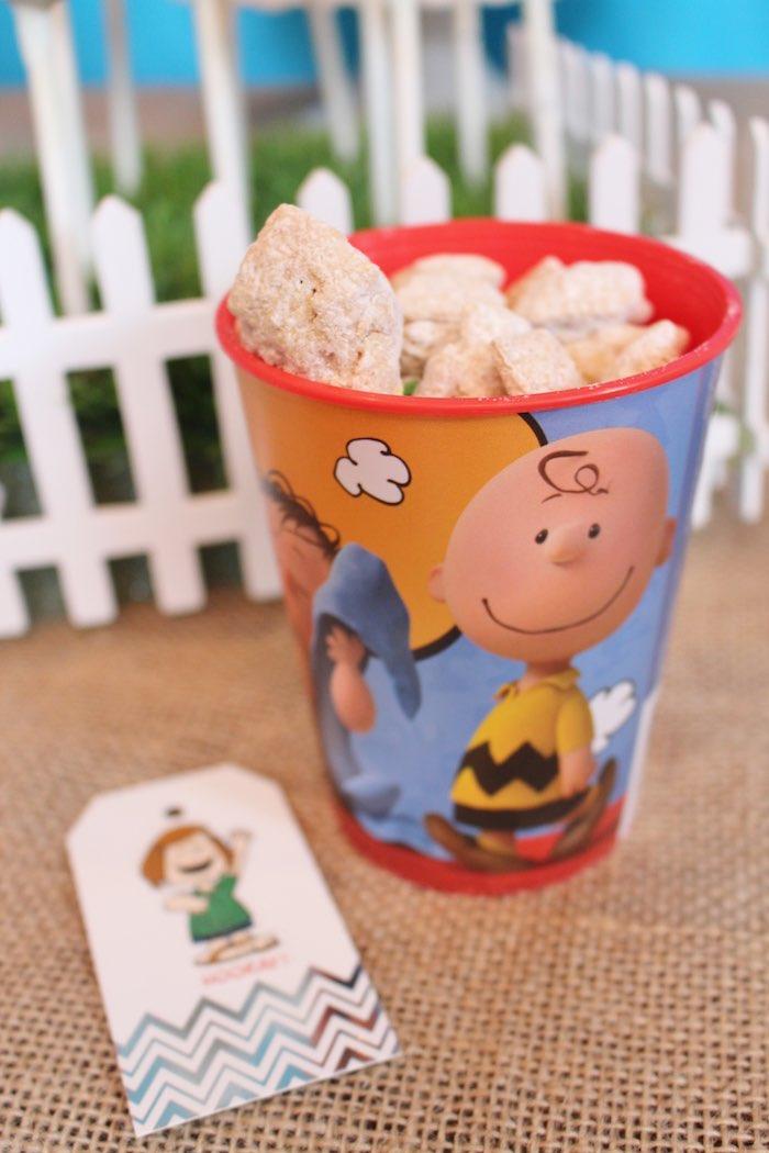 Favor Cup from a Peanuts + Charlie Brown Birthday Party via Kara's Party Ideas   KarasPartyIdeas.com (27)