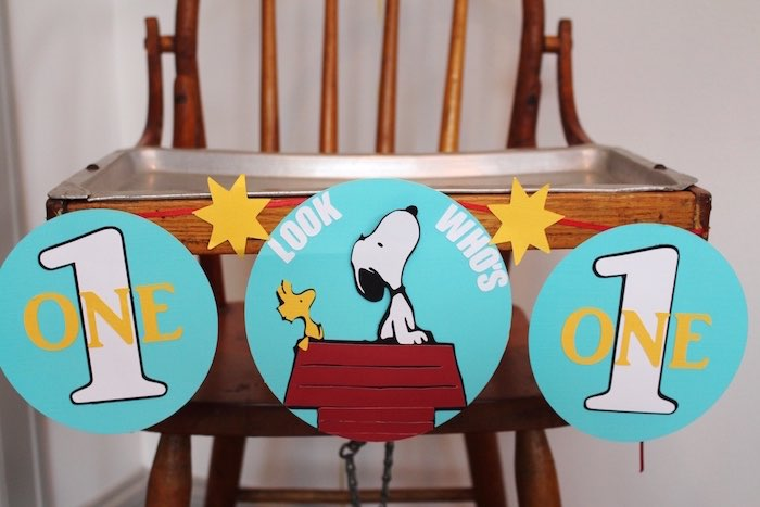 High Chair Banner from a Peanuts + Charlie Brown Birthday Party via Kara's Party Ideas   KarasPartyIdeas.com (24)