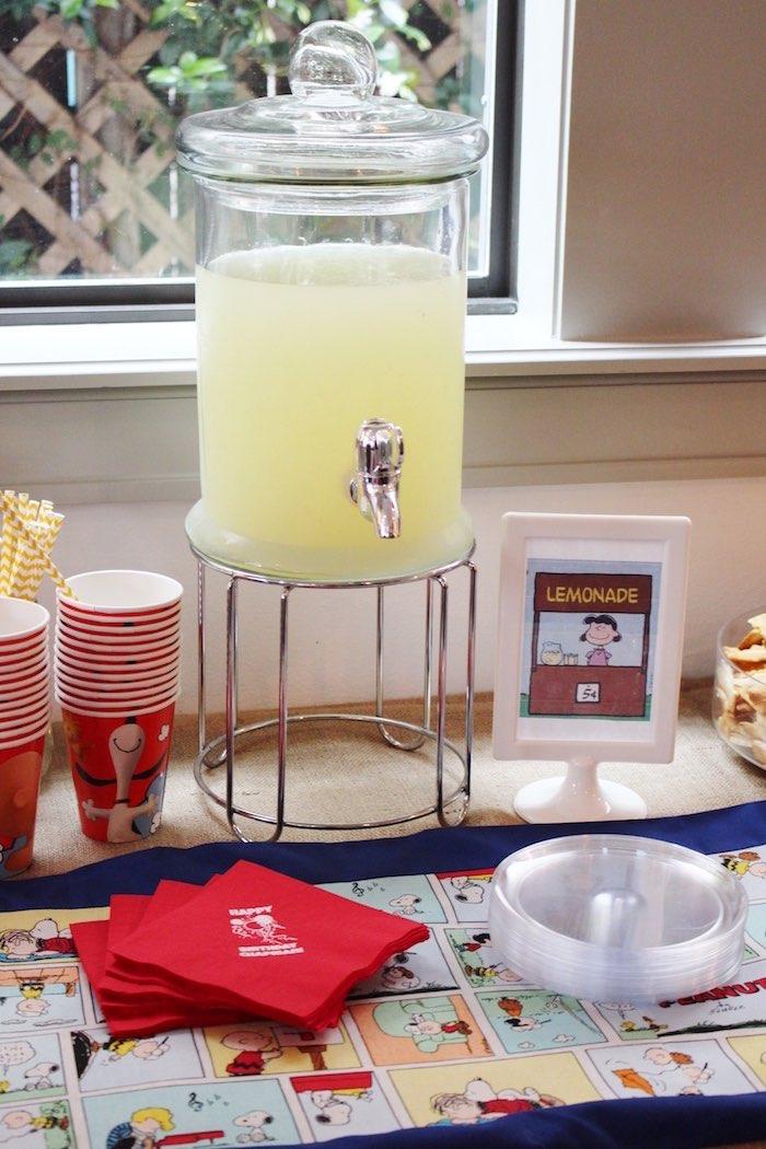 Drink + Food Table from a Peanuts + Charlie Brown Birthday Party via Kara's Party Ideas   KarasPartyIdeas.com (23)