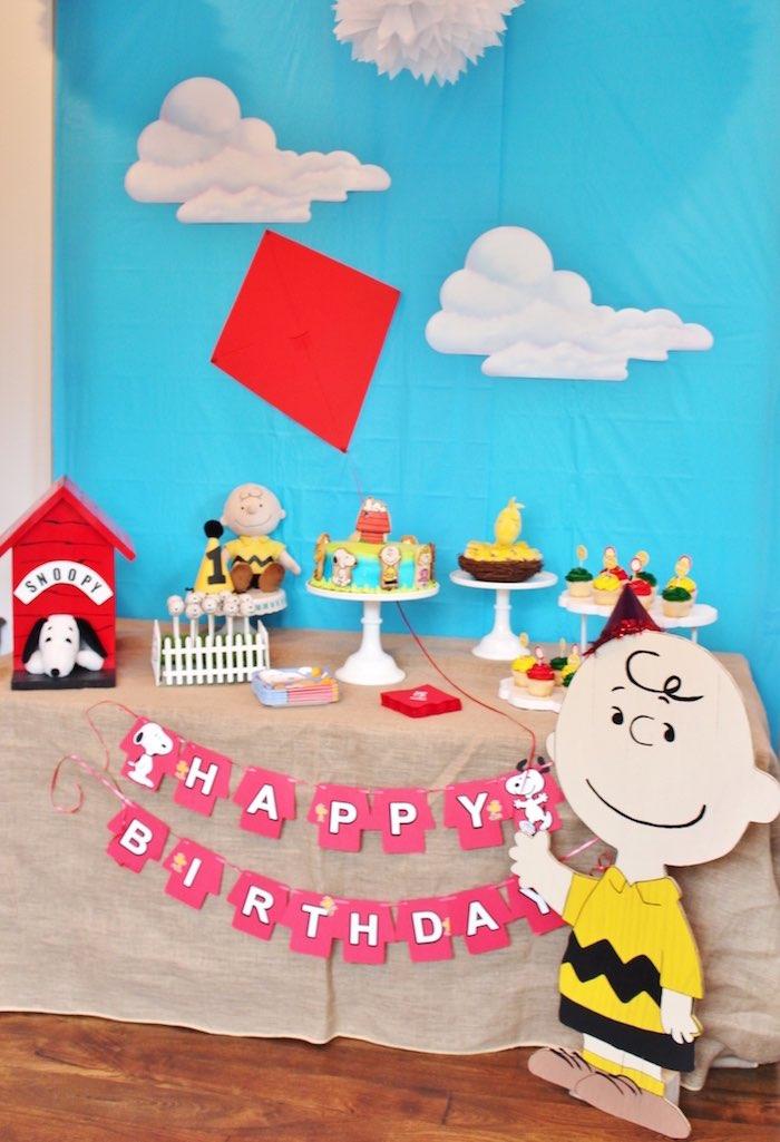 Sweet Table from a Peanuts + Charlie Brown Birthday Party via Kara's Party Ideas | KarasPartyIdeas.com (18)