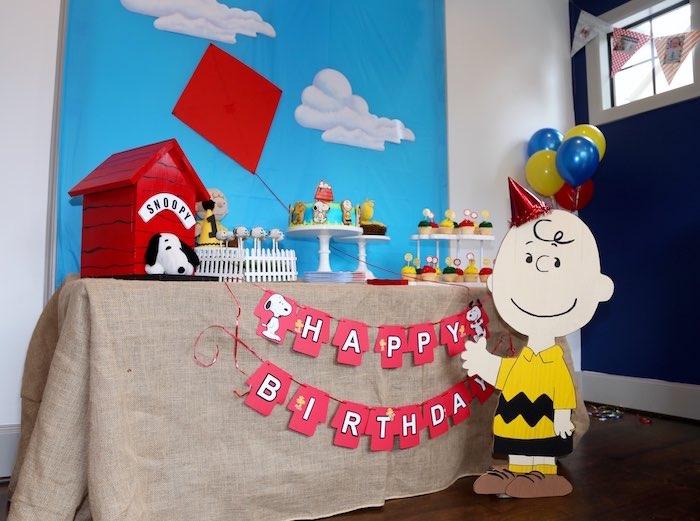 Sweet Table from a Peanuts + Charlie Brown Birthday Party via Kara's Party Ideas   KarasPartyIdeas.com (16)
