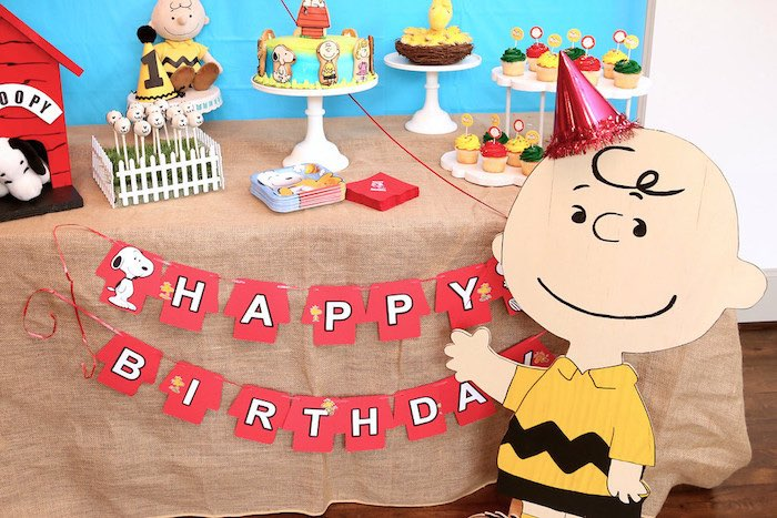 Sweet Table from a Peanuts + Charlie Brown Birthday Party via Kara's Party Ideas | KarasPartyIdeas.com (15)