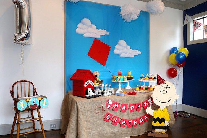 Dessert Table + Display from a Peanuts + Charlie Brown Birthday Party via Kara's Party Ideas | KarasPartyIdeas.com (13)