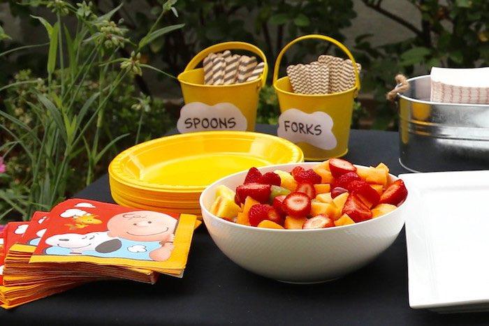 Food Table from a Peanuts + Charlie Brown Birthday Party via Kara's Party Ideas | KarasPartyIdeas.com (12)