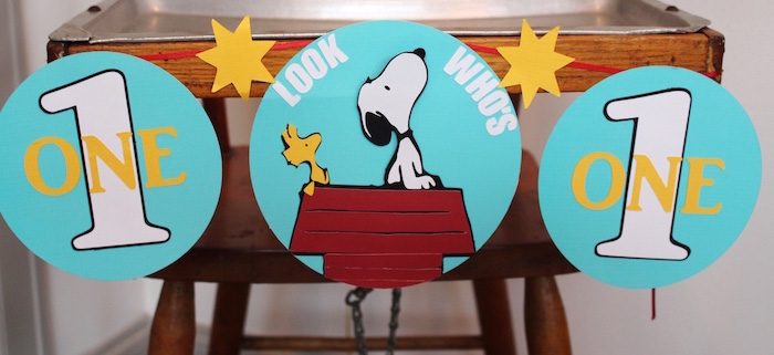 High Chair Banner from a Peanuts + Charlie Brown Birthday Party via Kara's Party Ideas | KarasPartyIdeas.com (2)