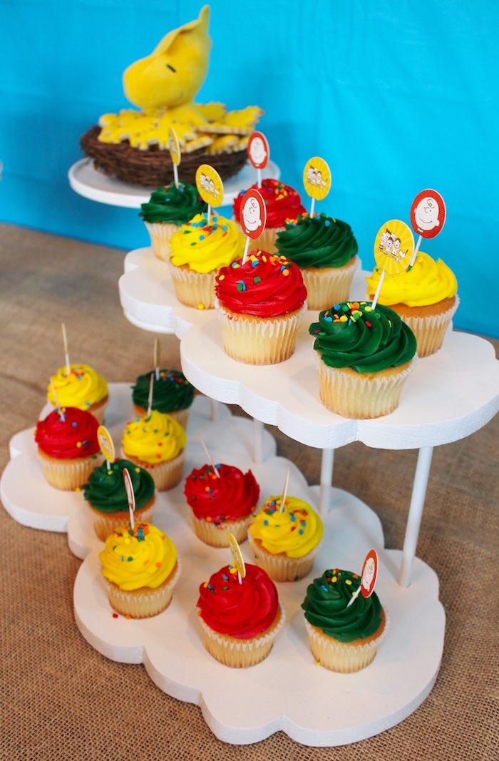 Cupcakes from a Peanuts + Charlie Brown Birthday Party via Kara's Party Ideas | KarasPartyIdeas.com (30)