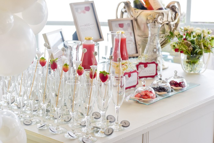 mimosa bar from a pearls of wisdom bridal shower via karau0027s party ideas