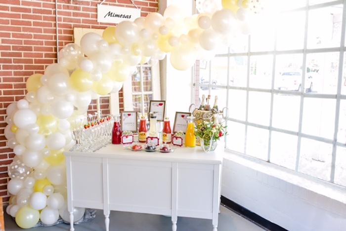 mimosa bar from a pearls of wisdom bridal shower via karas party ideas karaspartyideas