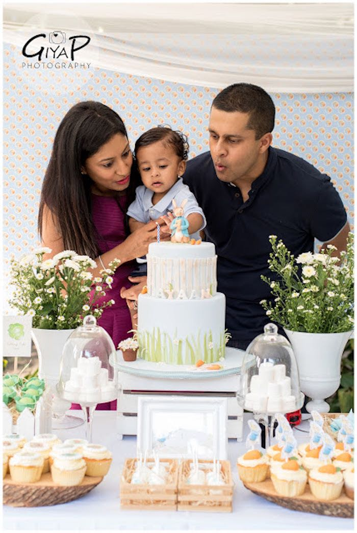 Birthday Boy + Parents from a Peter Rabbit Birthday Party via Kara's Party Ideas | KarasPartyIdeas.com (21)