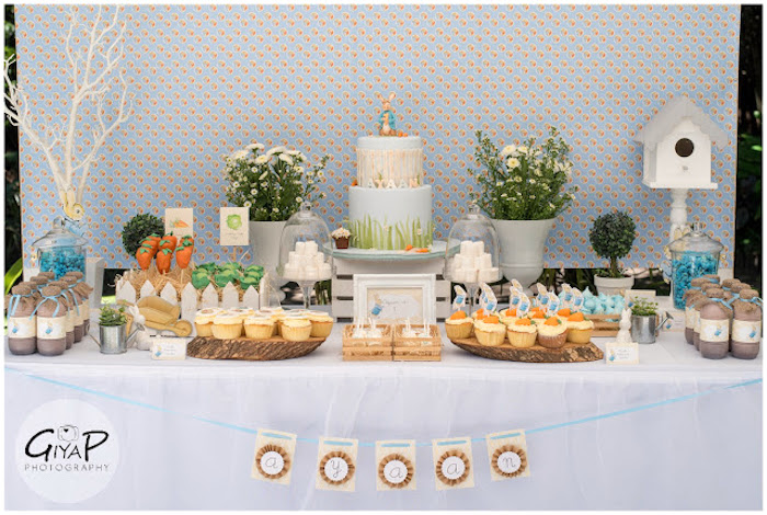 Sweet Table from a Peter Rabbit Birthday Party via Kara's Party Ideas | KarasPartyIdeas.com (17)
