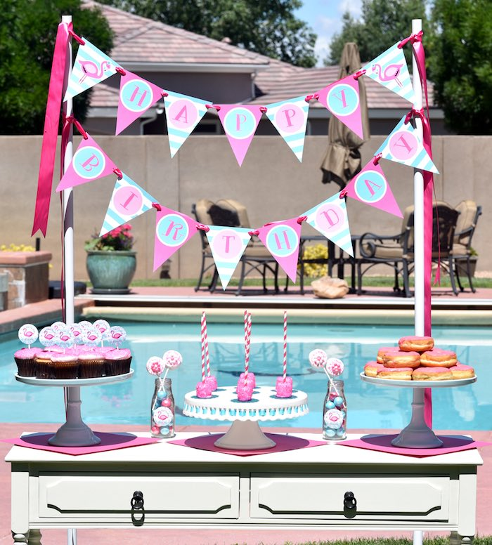 Baby Shower Pool Party Ideas baby shower tea party via karas party ideas karaspartyideascom 2 Sweet Table Detail From A Pink Flamingo Pool Party Via Karas Party Ideas Karaspartyideas