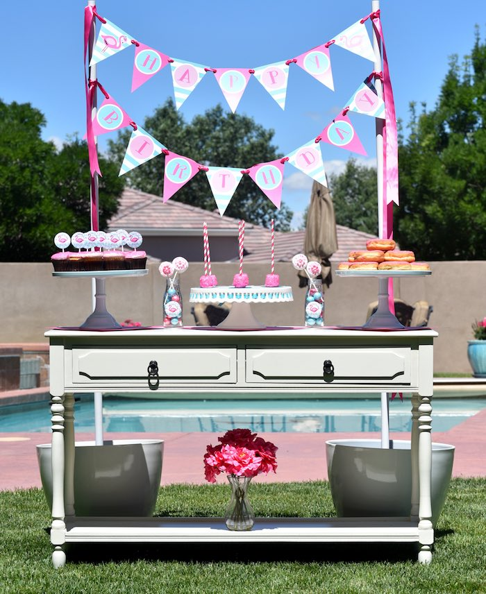 Baby Shower Pool Party Ideas printable personalized tableware Pink Flamingo Pool Party