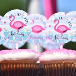Cupcakes from a Pink Flamingo Pool Party via Kara's Party Ideas | KarasPartyIdeas.com (2)