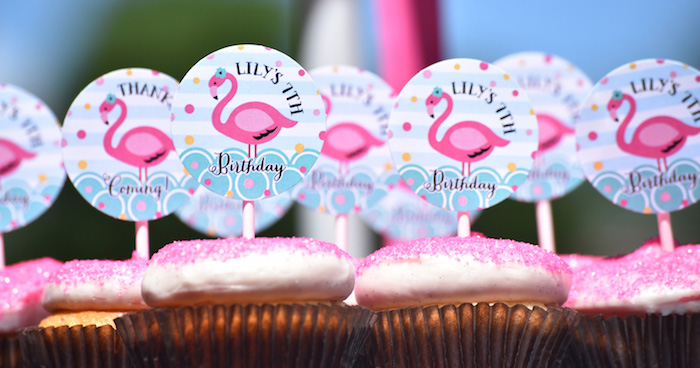 Cupcakes from a Pink Flamingo Pool Party via Kara's Party Ideas | KarasPartyIdeas.com (2)