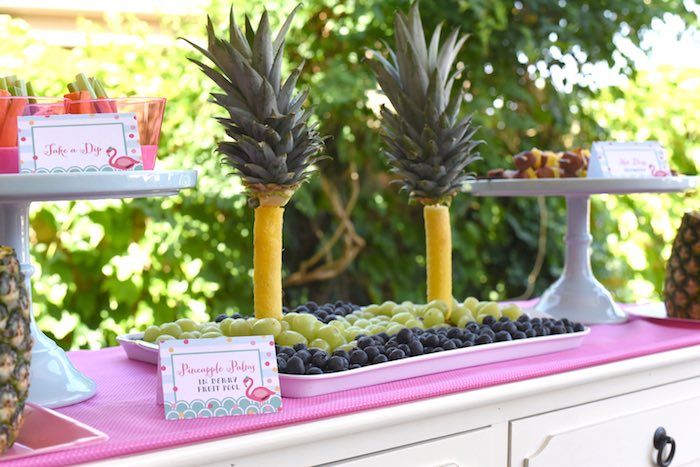 Pool Party Ideas pool party ideas with a diy floating pool bar shareacokecontest Pineapple Palm Fruit Tray From A Pink Flamingo Pool Party Via Karas Party Ideas Karaspartyideas