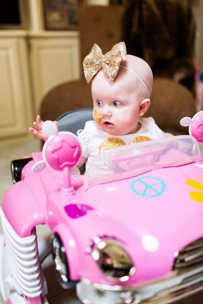 Birthday Girl in her Car from a Pink & Gold Cancer-Free 1st Birthday Party via Kara's Party Ideas | KarasPartyIdeas.com (19)