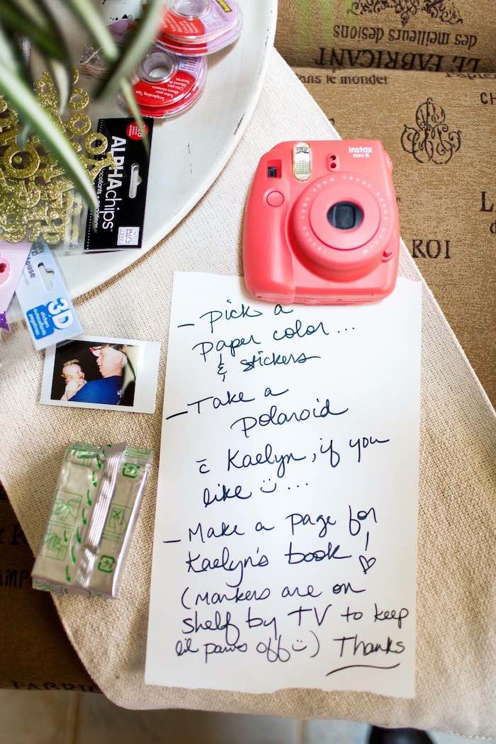 Instax Camera + Instructions from a Pink & Gold Cancer-Free 1st Birthday Party via Kara's Party Ideas | KarasPartyIdeas.com (16)