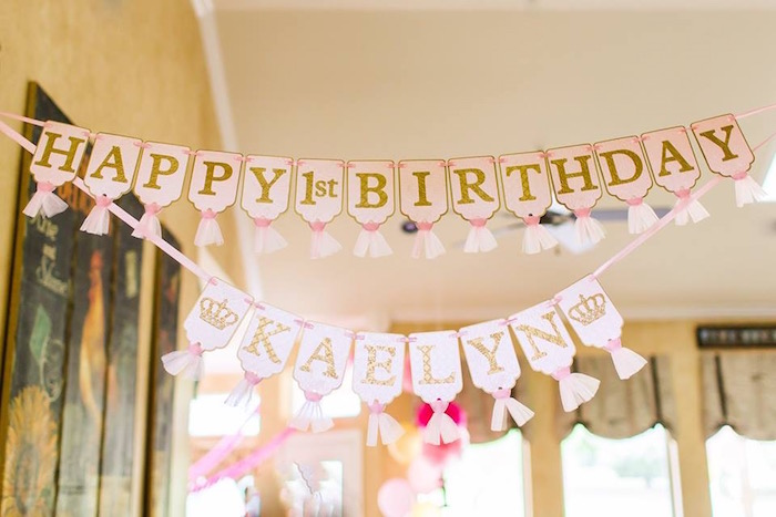 Banner from a Pink & Gold Cancer-Free 1st Birthday Party via Kara's Party Ideas | KarasPartyIdeas.com (30)