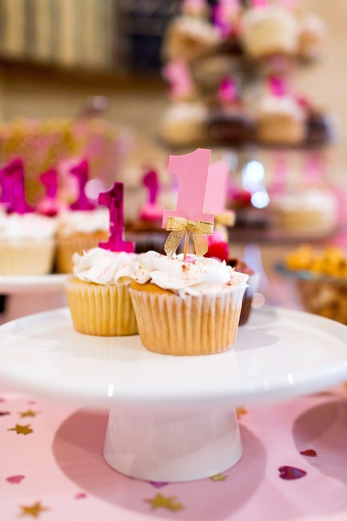 Cupcakes from a Pink & Gold Cancer-Free 1st Birthday Party via Kara's Party Ideas | KarasPartyIdeas.com (11)
