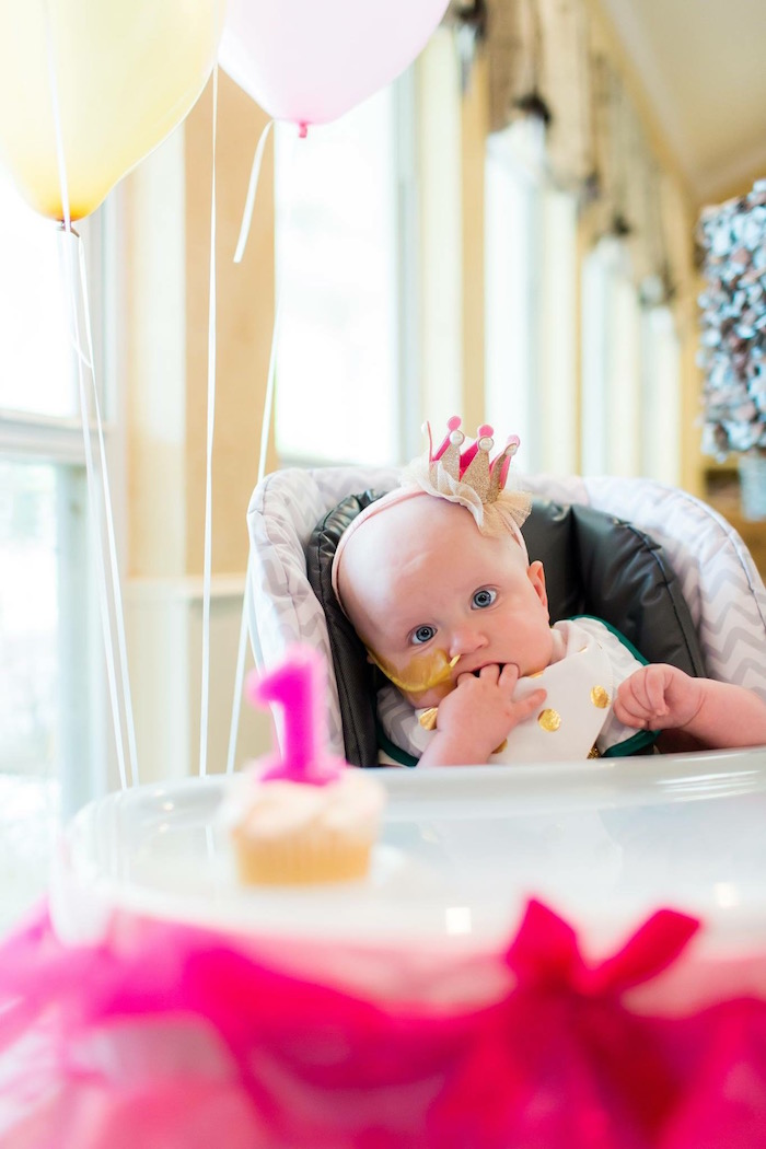 Birthday Girl from a Pink & Gold Cancer-Free 1st Birthday Party via Kara's Party Ideas | KarasPartyIdeas.com (6)