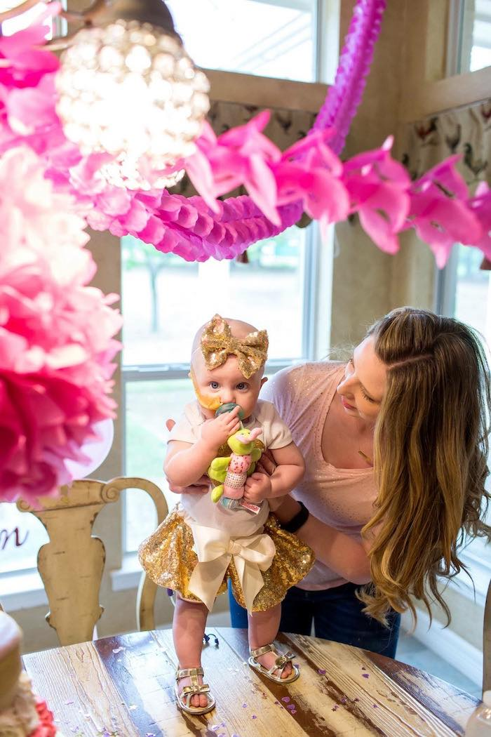Birthday Girl from a Pink & Gold Cancer-Free 1st Birthday Party via Kara's Party Ideas | KarasPartyIdeas.com (4)