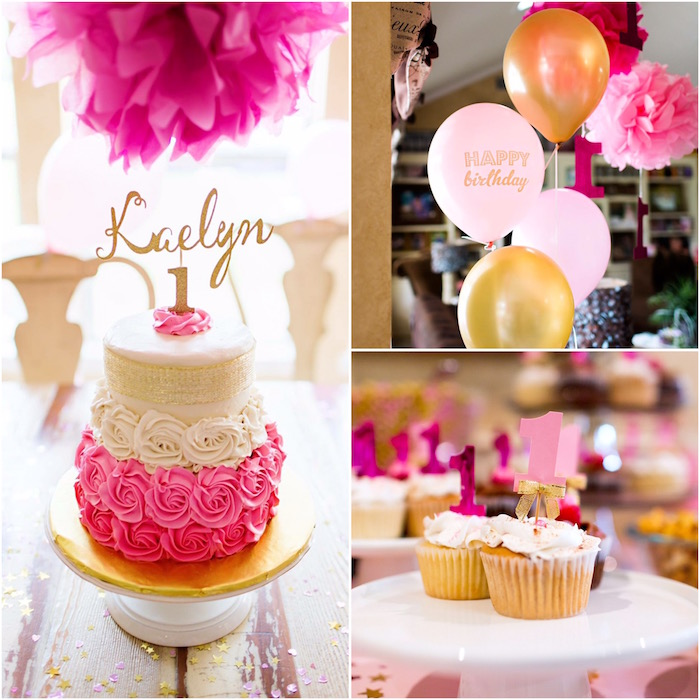 details from a pink gold cancer free 1st birthday party via karas party ideas