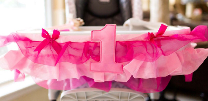 High Chair Banner from a Pink & Gold Cancer-Free 1st Birthday Party via Kara's Party Ideas | KarasPartyIdeas.com (1)