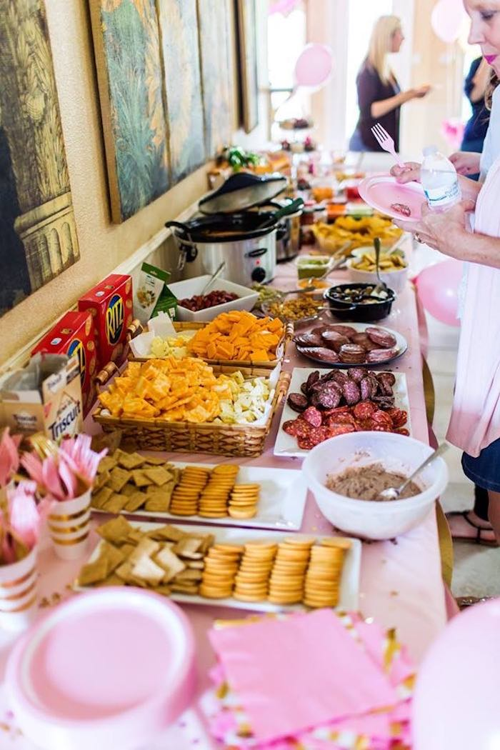 Food Table from a Pink & Gold Cancer-Free 1st Birthday Party via Kara's Party Ideas | KarasPartyIdeas.com (28)