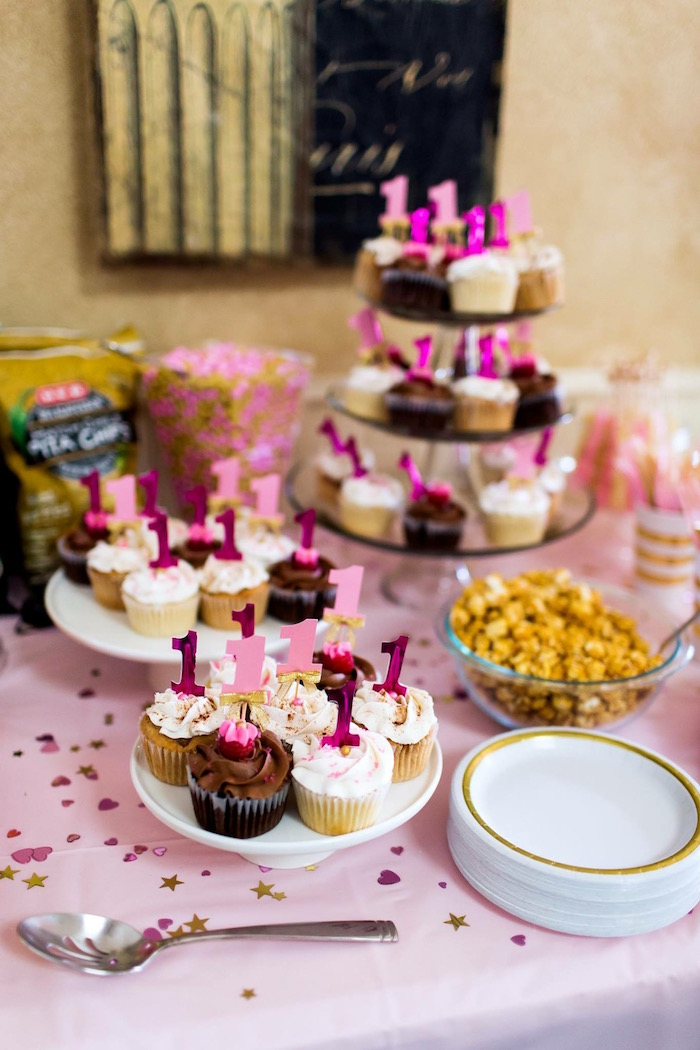 Sweet Table from a Pink & Gold Cancer-Free 1st Birthday Party via Kara's Party Ideas | KarasPartyIdeas.com (27)