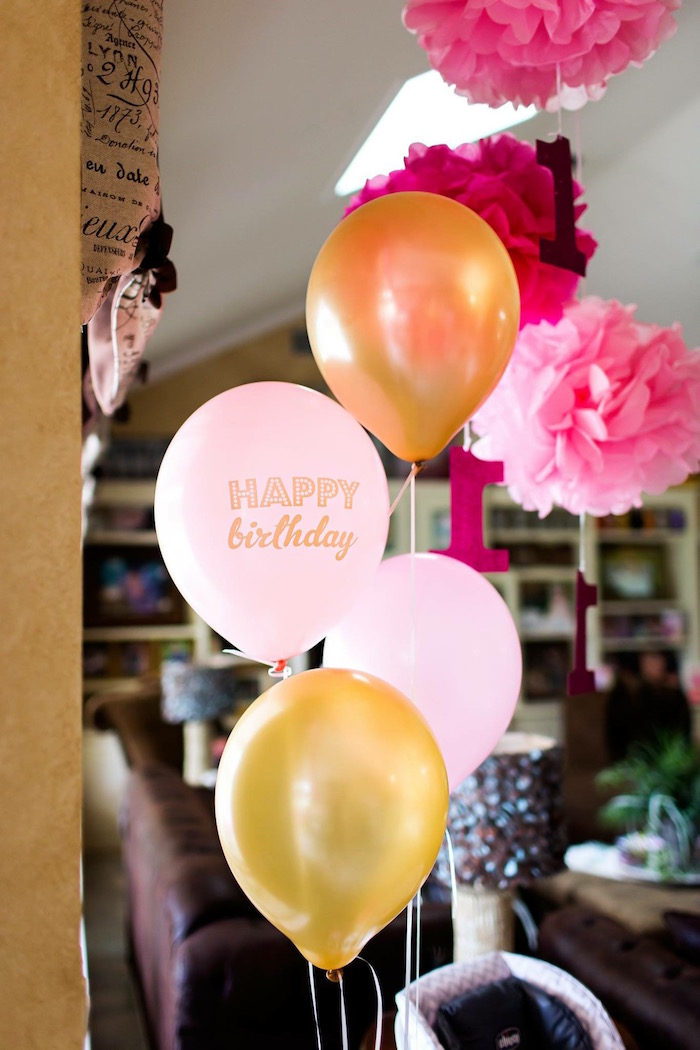 Balloons from a Pink & Gold Cancer-Free 1st Birthday Party via Kara's Party Ideas | KarasPartyIdeas.com (23)
