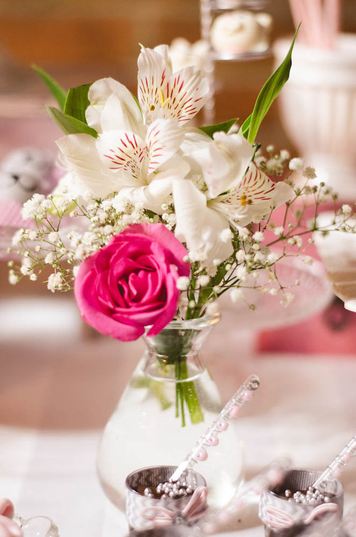 Floral Centerpiece from a Pink Kitten Birthday Party via Kara's Party Ideas - KarasPartyIdeas.com (25)