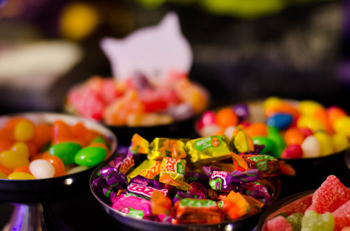 Candy placed in cat dishes from a Pink Kitten Birthday Party via Kara's Party Ideas - KarasPartyIdeas.com (16)