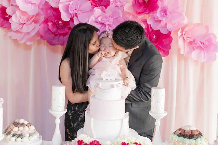 Birthday Girl Kisses from a Pink Paris 1st Birthday Party via Kara's Party Ideas KarasPartyIdeas.com (17)