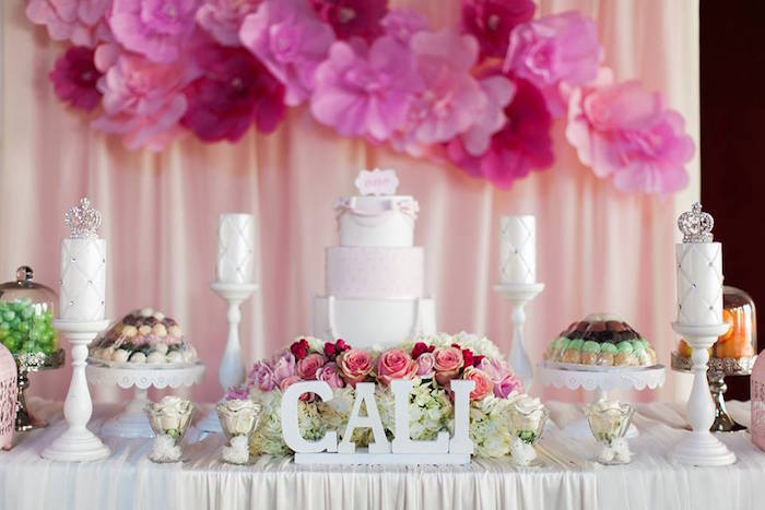 Karas Party Ideas Cake Table Details from a Pink Paris 1st