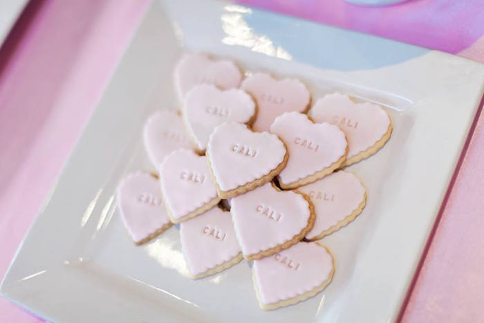 Heart-shaped Cookies from a Pink Paris 1st Birthday Party via Kara's Party Ideas KarasPartyIdeas.com (15)