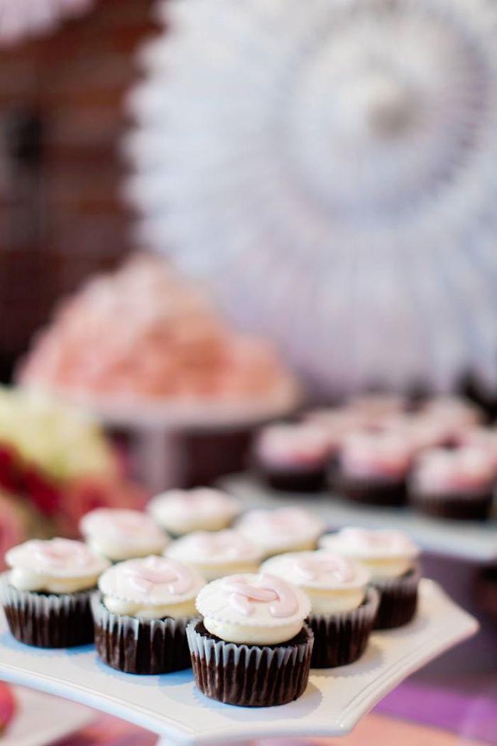 Cupcakes from a Pink Paris 1st Birthday Party via Kara's Party Ideas KarasPartyIdeas.com (13)