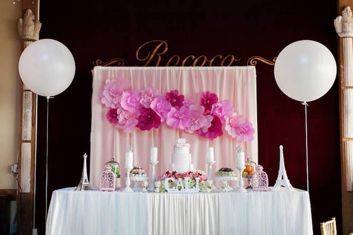 Cake Table from a Pink Paris 1st Birthday Party via Kara's Party Ideas KarasPartyIdeas.com (12)