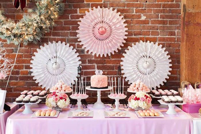 Dessert Table from a Pink Paris 1st Birthday Party via Kara's Party Ideas KarasPartyIdeas.com (9)