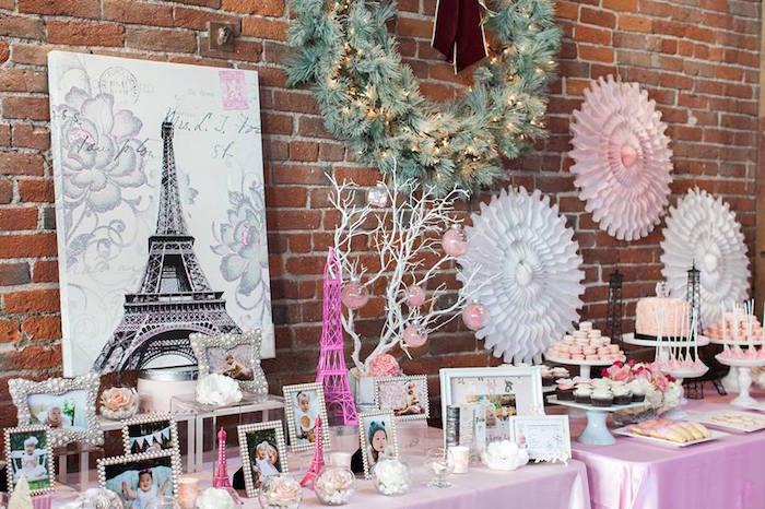 Decor Table from a Pink Paris 1st Birthday Party via Kara's Party Ideas KarasPartyIdeas.com (8)