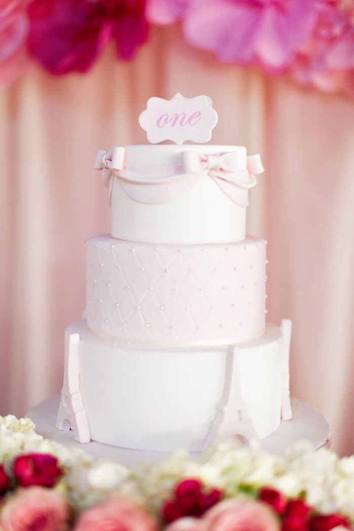 Cake from a Pink Paris 1st Birthday Party via Kara's Party Ideas KarasPartyIdeas.com (26)