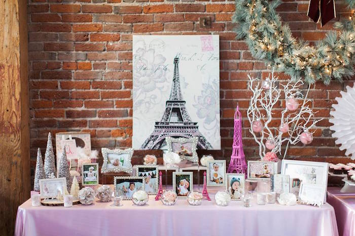 Table from a Pink Paris 1st Birthday Party via Kara's Party Ideas KarasPartyIdeas.com (4)