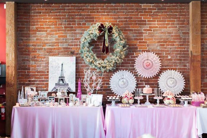 Party Tables from a Pink Paris 1st Birthday Party via Kara's Party Ideas KarasPartyIdeas.com (21)