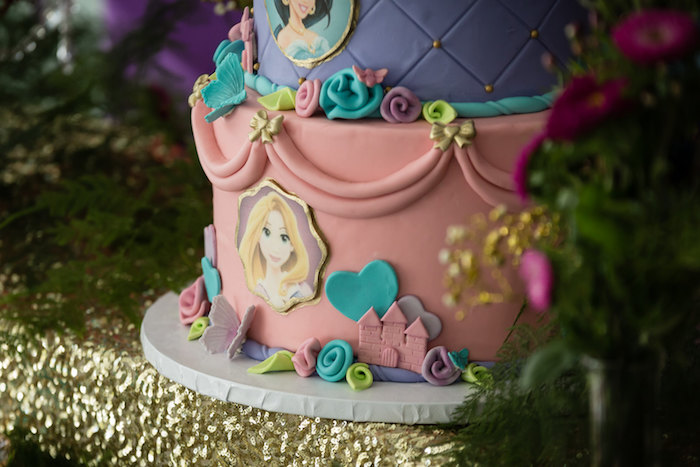Cake Detail from a Princess Birthday Party via Kara's Party Ideas | KarasPartyIdeas.com - The Place for All Things Party! (19)
