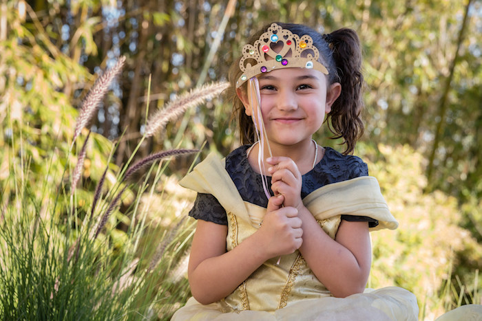 Little Girl with her Decorated Crown from a Princess Birthday Party via Kara's Party Ideas | KarasPartyIdeas.com - The Place for All Things Party! (24)