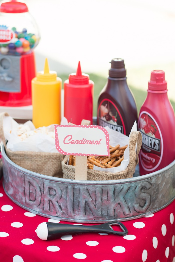 Condiments from a Retro Diner Themed Mother's Day Party via Kara's Party Ideas | KarasPartyIdeas.com - The Place for All Things Party! (8)