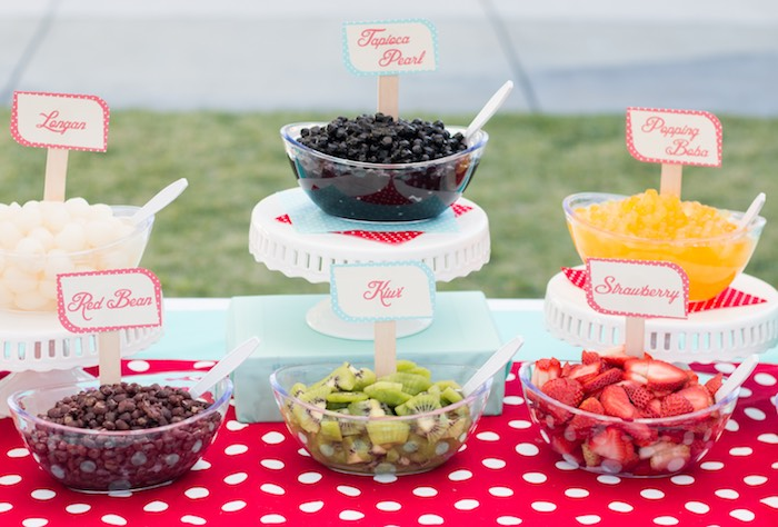 Food Bar from a Retro Diner Themed Mother's Day Party via Kara's Party Ideas | KarasPartyIdeas.com - The Place for All Things Party! (7)